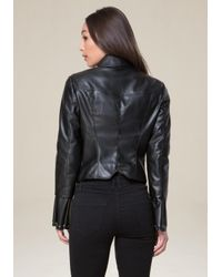 Bebe - Black Zip Sleeve Jacket - Lyst