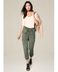 Bebe | Green Twill Cargo Jogger Pants | Lyst