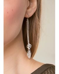 Bebe - Metallic Logo Heart Earrings - Lyst