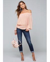 Bebe - Pink Smocked Mesh Top - Lyst