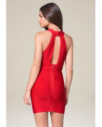Bebe - Red Cutout Plunge Neck Dress - Lyst