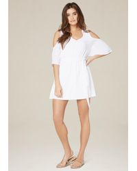Bebe | White Cindi Cold Shoulder Dress | Lyst
