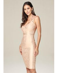 Bebe - Multicolor 3-strap Foil Knit Dress - Lyst