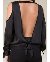 Bebe - Black Cold Shoulder Open Back Top - Lyst