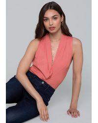 Bebe - Pink Ribbed Wrap Bodysuit - Lyst