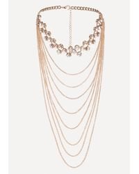 Bebe - Multicolor Draped Chain Crystal Choker - Lyst
