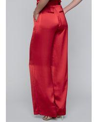 Bebe - Red Satin Paper Bag Waist Pants - Lyst