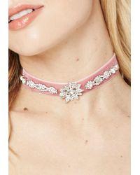 Bebe - Pink Crystal & Velvet Choker - Lyst