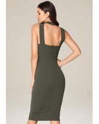 Bebe - Green Halter Bodycon Dress - Lyst
