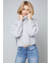 Bebe - Gray Cable Pullover Sweater - Lyst