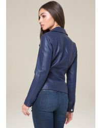Bebe - Blue Faux Leather Zip Jacket - Lyst
