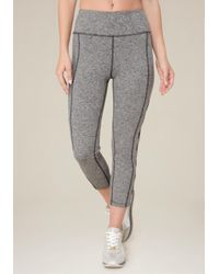 Bebe - Gray Side Slit Crop Leggings - Lyst