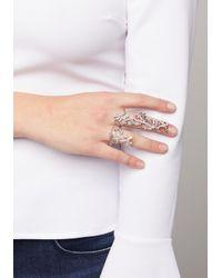 Bebe - Metallic Ornate 2-finger Ring - Lyst