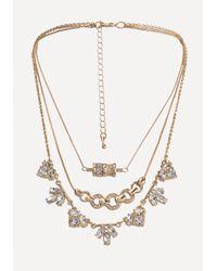 Bebe - Multicolor Crystal 3-layer Necklace - Lyst