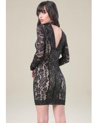 Bebe | Black Lace Panel Mock Neck Dress | Lyst