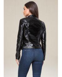 Bebe - Black Crinkle Moto Jacket - Lyst