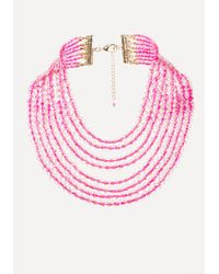 Bebe | Pink Beaded Waterfall Necklace | Lyst