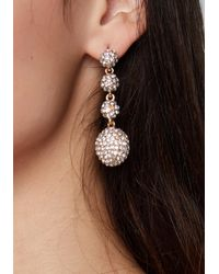 Bebe - Metallic Crystal Ball Earrings - Lyst