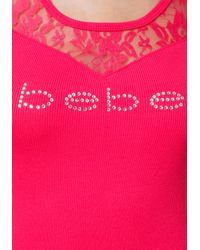 Bebe - Pink Logo Lace Yoke Top - Lyst