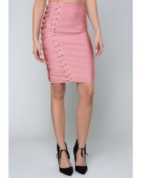 Bebe - Pink Eyelet Bandage Skirt - Lyst