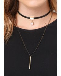 Bebe - Multicolor Bar & Crystal Double Choker - Lyst