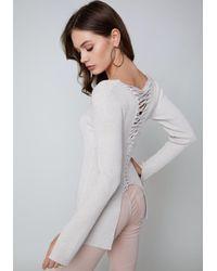 Bebe - White Kiara Back Lace Up Sweater - Lyst
