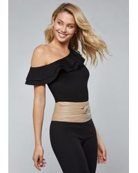 27a28a2a90144a Bebe Ruffled One Shoulder Top in Black - Lyst