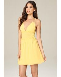Bebe | Yellow Double Strap Day Dress | Lyst