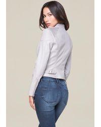 Bebe - Gray Faux Leather Moto Jacket - Lyst