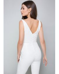 Bebe - White Studded Jumpsuit - Lyst