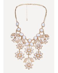 Bebe - Metallic Floral Necklace - Lyst