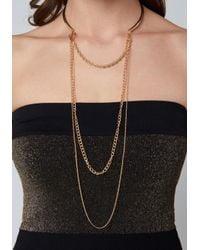Bebe - Metallic Swag Chain Collar Necklace - Lyst