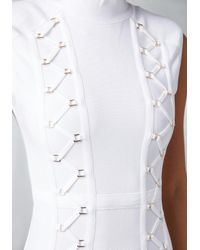 Bebe | White Zigzag Detail Dress | Lyst