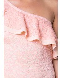Bebe - Pink Lace One Shoulder Dress - Lyst