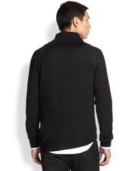 Alexander McQueen - Black Wool & Silk Shawl Collar Sweater for Men - Lyst