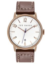 Ted Baker | Pink Round Leather Strap Watch for Men | Lyst