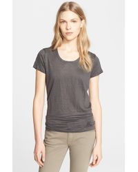 Burberry Brit - Gray Scoop Neck Linen Tee - Lyst