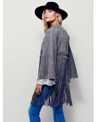 Free People - Green Dramatic Sleeve Suede Kimono - Lyst