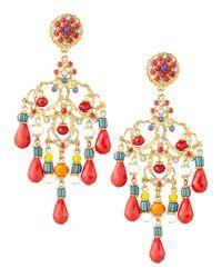 Jose & Maria Barrera - Multicolor Beaded Chandelier Clip Earrings - Lyst