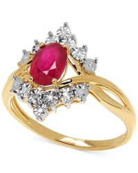 Macy's - Metallic Ruby (1-1/8 Ct. T.w.) And Diamond Accent Ring In 10k Gold - Lyst