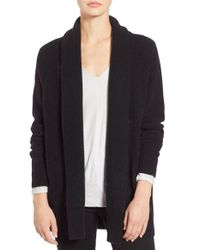 James Perse | Black Merino Wool Blend Open Front Cardigan | Lyst