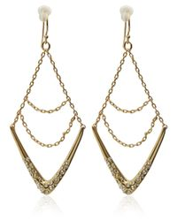 Alexis Bittar | Metallic Gold Crystal Chain Wire Earrings | Lyst