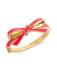 kate spade new york | New York Goldtone Pink Bow Bangle Bracelet | Lyst