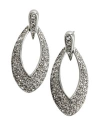 Ben-Amun - Metallic Silver And Crystal Marquis Loop Earrings - Lyst