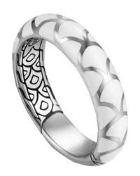 John Hardy | Metallic Naga Silver Enamel Band Ring With White Enamel | Lyst