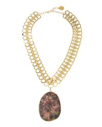 Devon Leigh - Metallic Rainbow Jasper Pendant Necklace - Lyst