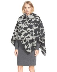 Burberry Brit - Gray Animal Jacquard Wool & Cashmere Cape - Lyst