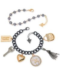 Guess | Gray Two-tone Charm And Imitation Pearl Bracelet Set | Lyst