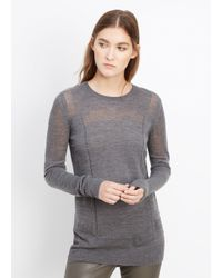VINCE | Gray Engineered Mesh Wool Crew Neck Sweater | Lyst