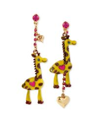 Betsey Johnson - Metallic Antique Goldtone Giraffe Mismatch Linear Earrings - Lyst